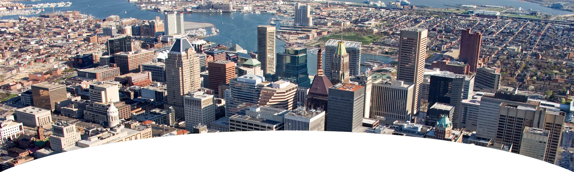 Bank on Maryland - aerial view of downtown Baltimore City